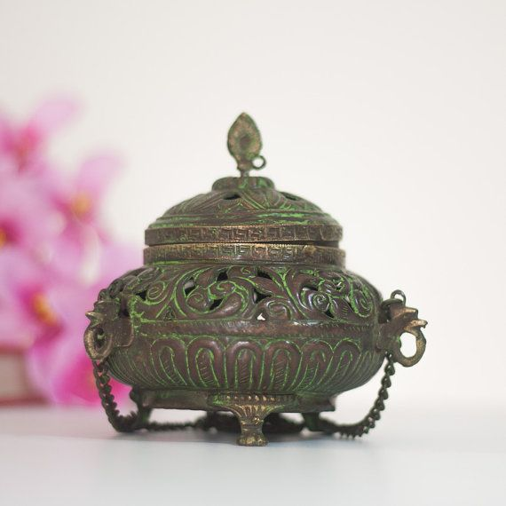 Brass Lantern Incense Burner Vintage Indian Lamp