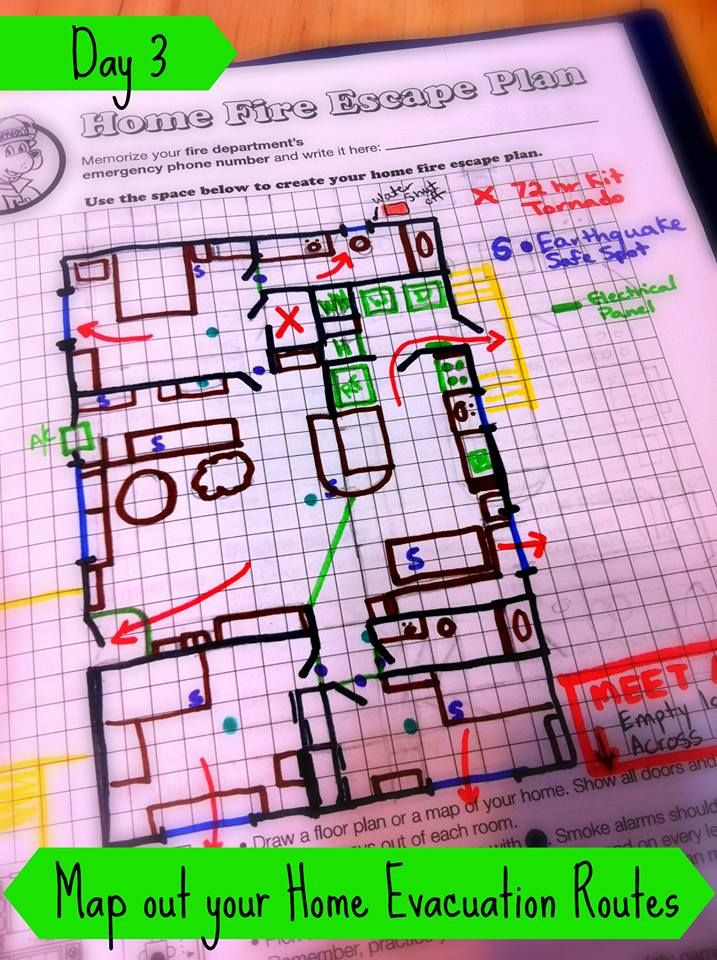 Day 3 - Get out your markers! Create a home evacuation plan and practice it | PreparednessMama.com