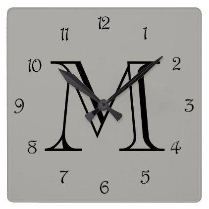 Monogram Black Script Numbers On Grey Wall Clock - monogram gifts unique design style monogrammed diy cyo customize