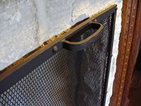 Detail Of A Fireplace Screen Handle Mounted To A Flat Freestanding Fire  Screen Made From Black Iron Riveted Frame. | Fireplace/hearth | Pinterest  ...