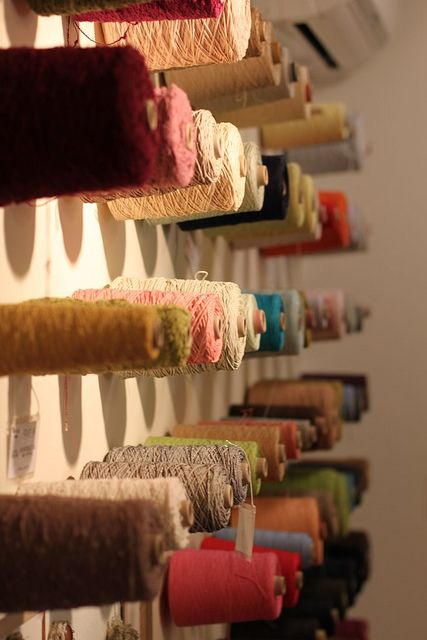 Maybe my new studio will have space for this style of cone storage, a la Habu Textiles.