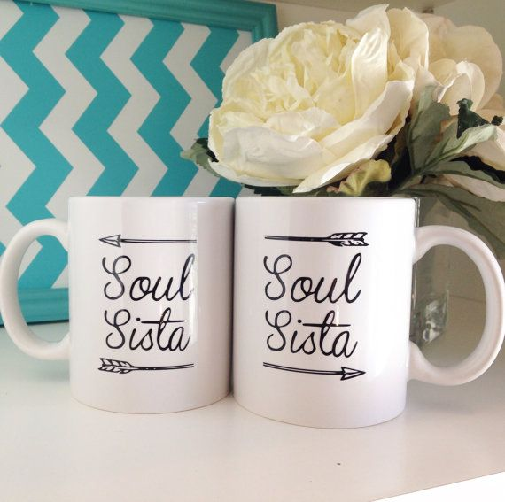 Want to give the perfect gift to a Soul Sista in your life?  This set comes with TWO White ceramic mugs with Black type      The mug can be customized any color decal (Just include that info in the notes at checkout. If no notes are made it will be made as pictured.)        Materials  Mug- Ceramic White Mug  Vinyl decal lettering    **********************************************************************  Stay up to date on new products, Coupon codes, and GIVEAWAYS…