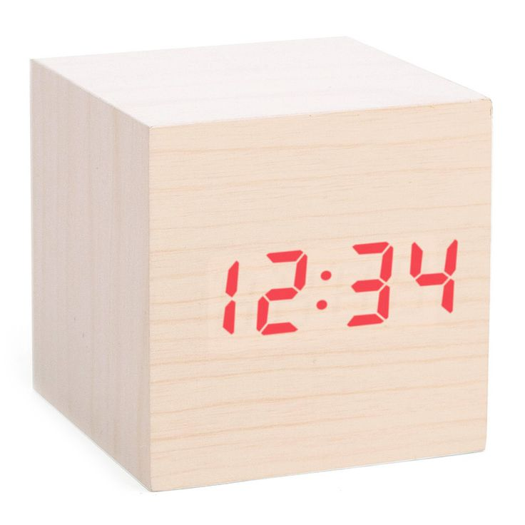 The ultimate in minimalist design, the clock appears to be a simple, palm-sized cube with a pale, wood veneer finish. But the sound of a hand clap or a knock on the table triggers a red digital time display to shine through the front surface. It disappears again automatically after 8 seconds