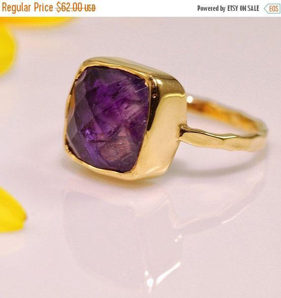 VENTE  violet améthyste  Février Birthstone anneau  par delezhen