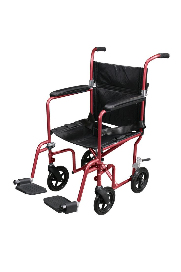 """Drive rtlfw19rw-rd Flyweight Lightweight Transport Wheelchair with Removable Wheels, Red. The Deluxe 19"""" Fly Weight Aluminum Transport Chair with Removable Casters by Drive Medical weighs about 30% less than traditional transport chairs. Weighing only 19 pounds, this chair has a hassle free, aluminum back release that folds down the back, flared arms that allow flat folding and the lightweight aluminum frame combine to make this chair easy and convenient to store and transport. The…"""