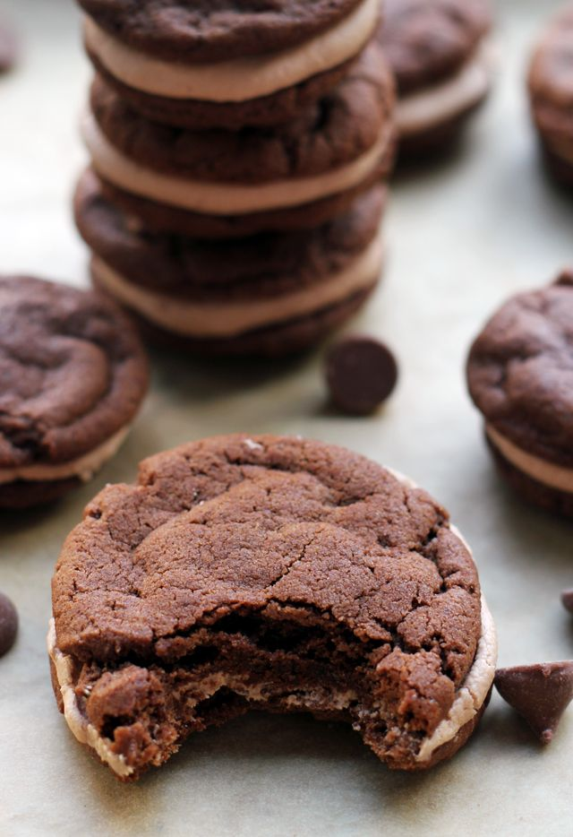 Chocolate Cookie Sandwiches with Malted Milk Chocolate Buttercream