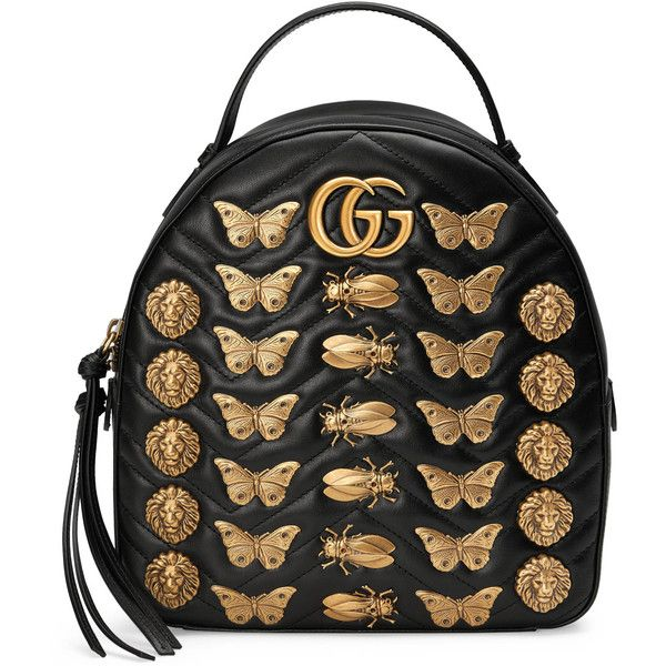 Gucci Gg Marmont Animal Studs Leather Backpack found on Polyvore featuring bags, backpacks, handbags, black, women, genuine leather backpack, gucci, leather daypack, leather knapsack and chevron print backpack