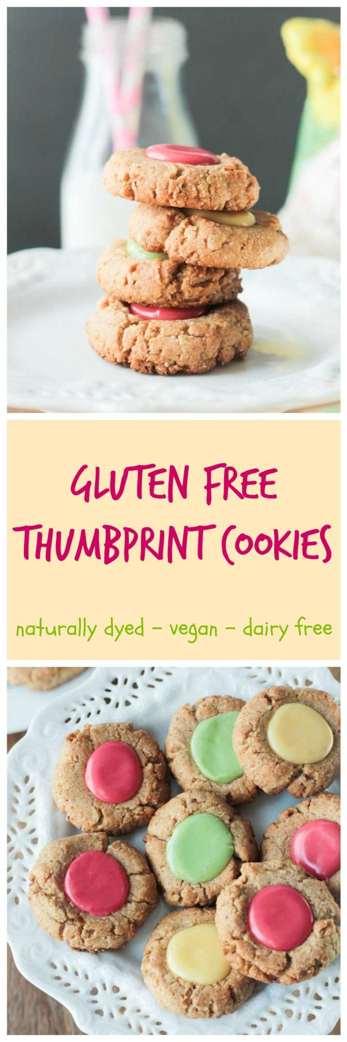 Gluten Free Thumbprint Cookies - Gorgeous pastel thumbprint cookies made with tender gluten free almond flour and naturally dyed icing,. No dairy, no eggs, no gluten! Perfect for Easter or anytime of year! #BRMEaster #CleverGirls