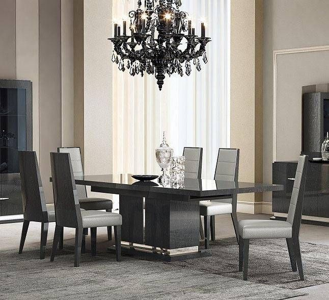 J M Valentina Contemporary Grey High Gloss Lacquer Premium Dining