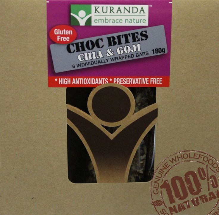 Kuranda Yummy Choc Bite - Chia & Goji Made with the Finest Belgian Callebaut Chocolate 70% Cocoa Solids, they are Gluten Free, Wheat Free, Dairy Free, Soy Free, Low GI and jammed packed with nutritionally dense ingredients such as Chia Seeds and Goji Berries - yummo!  Why not try some today go to www.aussiehealthsnax.com.au and head to our Choc Bites page !