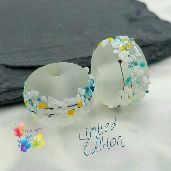 Murano perles brise fraîche fleur paire par GlitteringprizeGlass