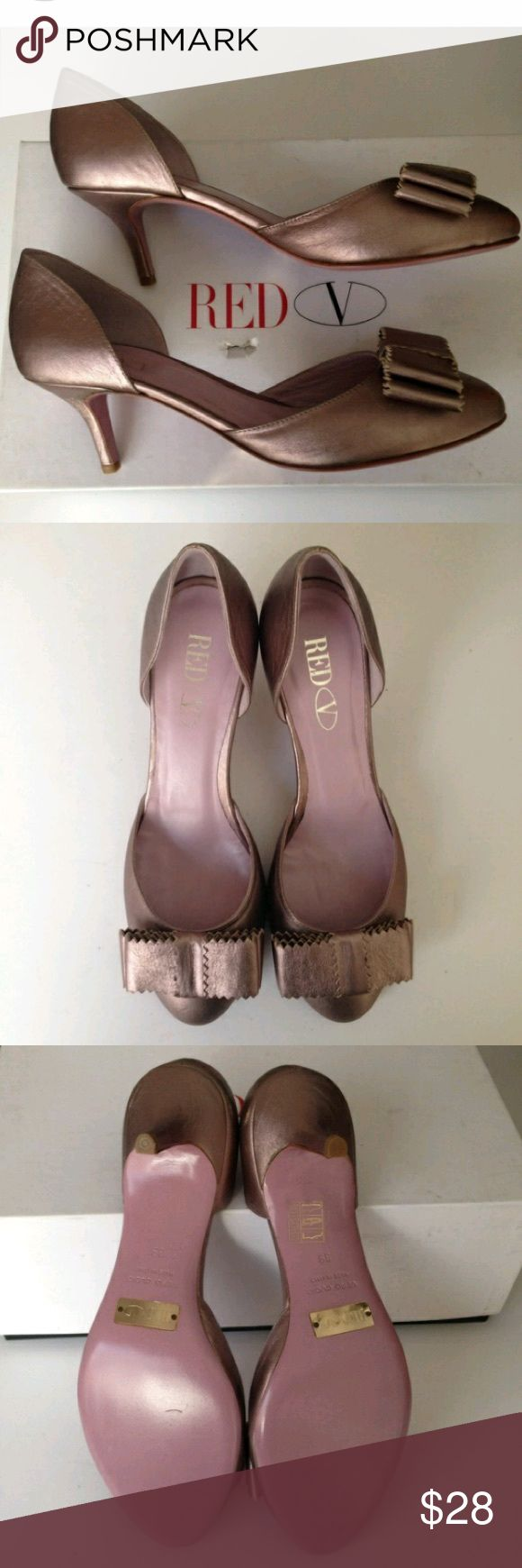 Red Valentino Leather Silver Grey Kitten Heels 8.5 Good used condition. Bottoms are far more scuffed than shown but otherwise good. RED Valentino Shoes Heels