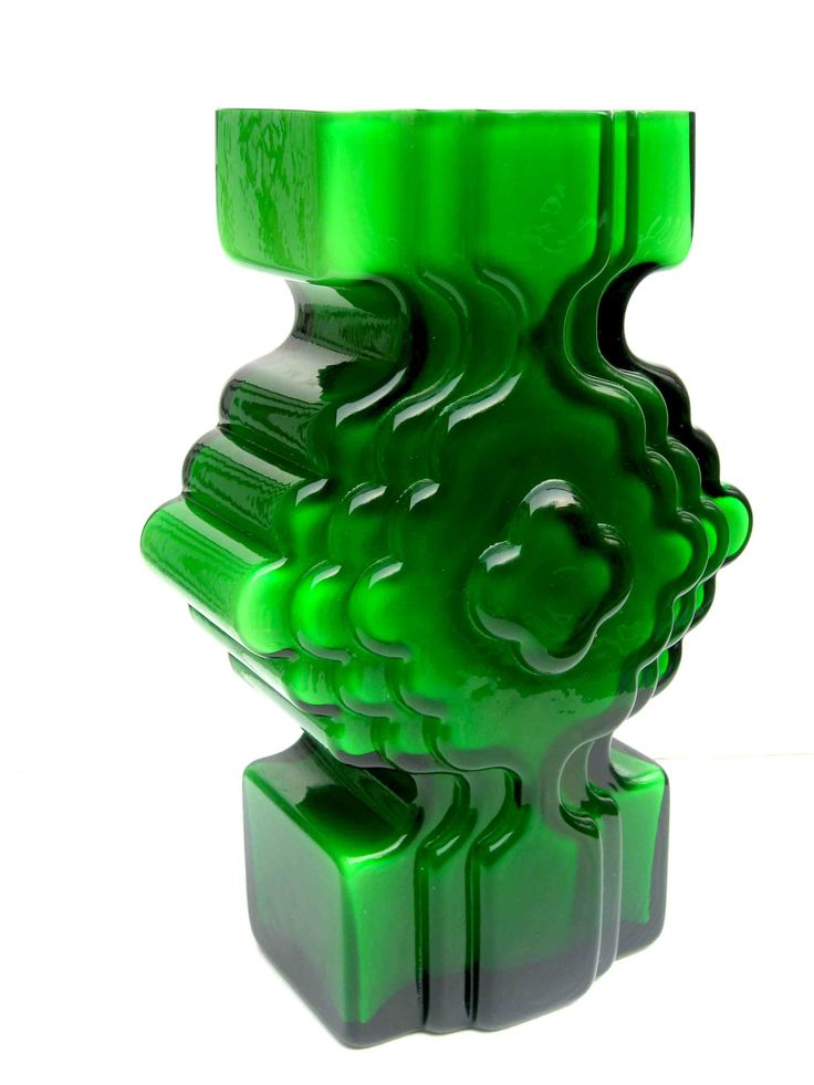 Alsterfors PO Strom green cased spaceage glass vase - glasstastic