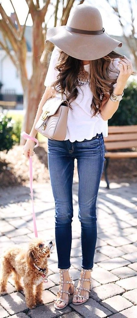 best outfit idea hat + top + skinny jeans