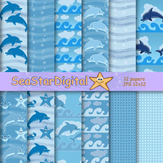 Under the sea printable digital paper pack download. Sea patterns for scrapbook, nautical background. Ocean waves and  dolphins.