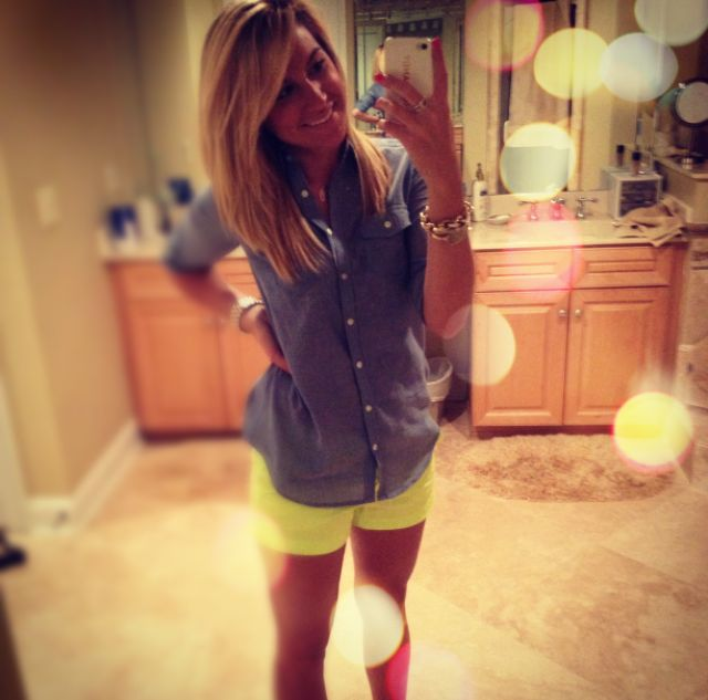 """Some JCrew 3"""" Chinos in a bright and a chambray shirt= cute summer wardrobe Just Dandy by Danielle"""