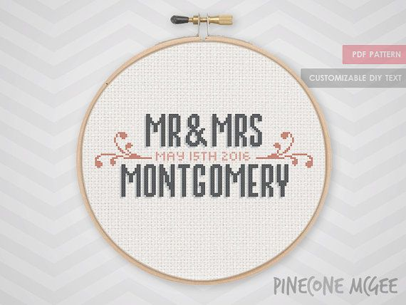 VINTAGE WEDDING ANNOUNCEMENT counted cross stitch by PineconeMcGee