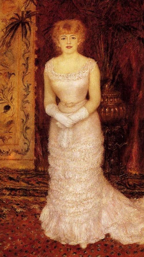 < 르누아르 '잔느 사마리의 초상' (1878) > 이 작품의 주인공인 잔느 사마리는 프랑스 연극원의 여배우로써 르누아르는 얼굴 표정과 태도, 색의 표현 등에 초점을 맞추고 있다. 붓놀림이 굉장히 빠르고 가볍게 느껴지는데 이것은 여인의 얼굴빛과 하늘거리는 옷감을 표현하는 데 있어서 적합하다고 할 수 있겠다.