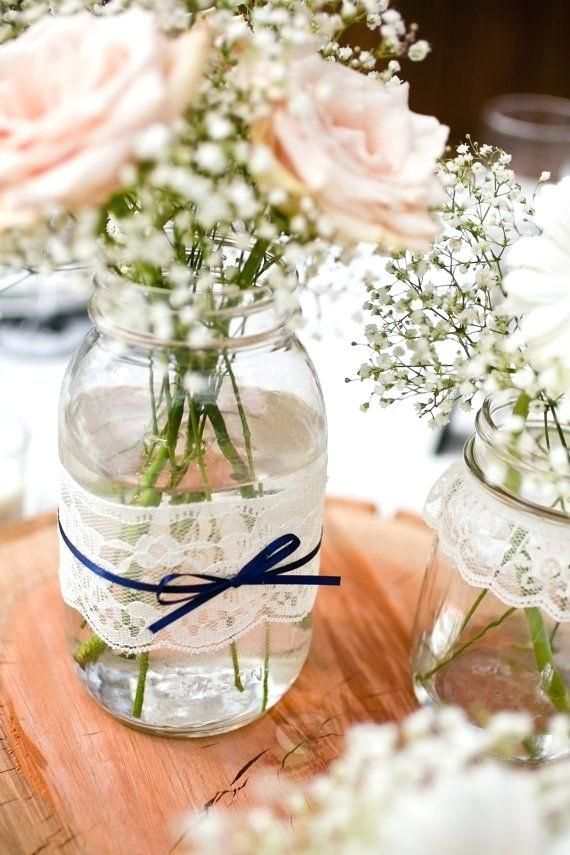 Recuerdos Para Boda Economicos Y Sencillos Centros Mesa Wedding Centerpieces Lace Mason Jars Wedding Decorations