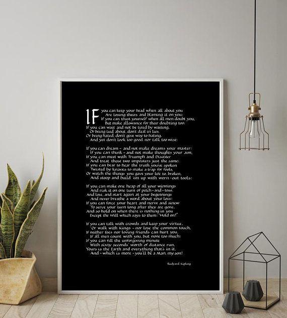 Gift For Men If Rudyard Kipling Wall Chart Husband Gift