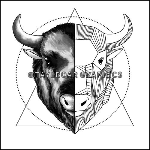 Half geometric buffalo head custom tattoo design. www.taylroargraphics.com