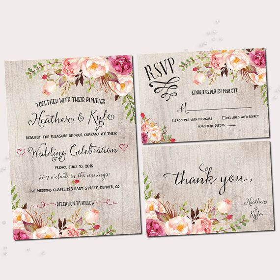 Rustic Wedding Invitations. Printable by SweetDreamsCreative