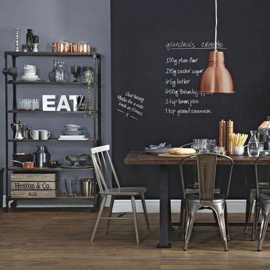Create a bistro vibe in your kitchen with a smart black and grey colour scheme. Try a chalkboard wall as your starting point, it will look striking and will come in useful for chalking up reminders. Read more at http://www.housetohome.co.uk/room-idea/picture/kitchen-diner-design-ideas-10-of-the-best/7 Boho style kitchen-diner | Kitchen-diner design ideas | housetohome.co.uk