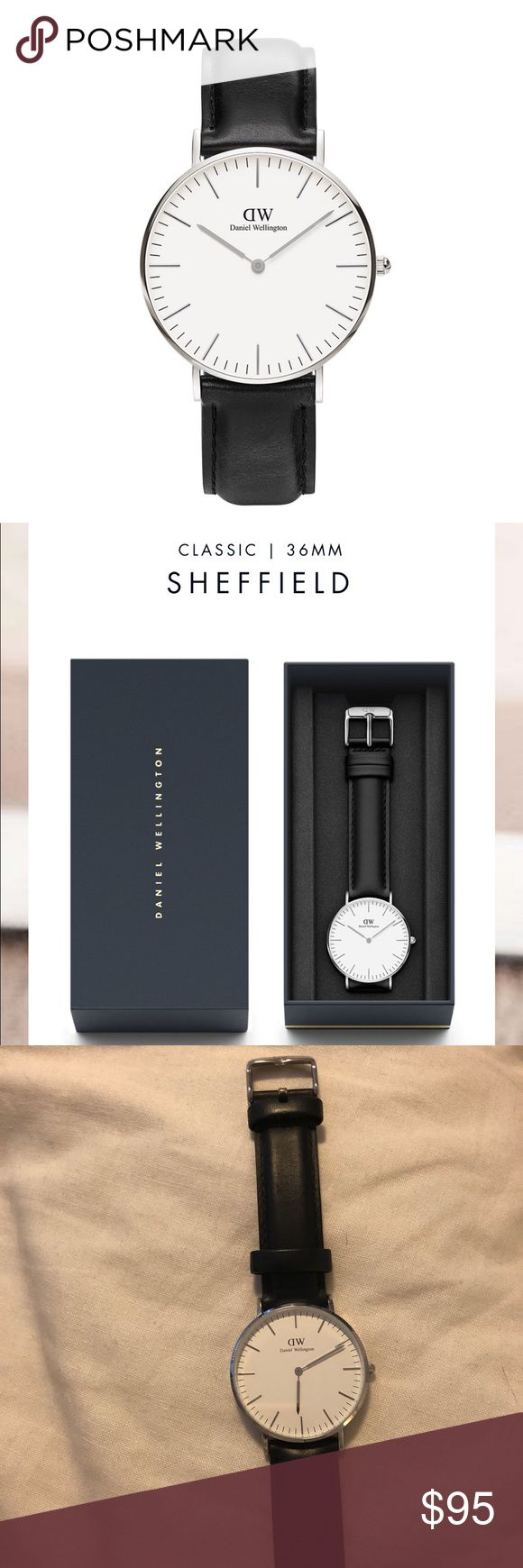 Daniel welling classic Sheffield watch black Black and silver Daniel Wellington Sheffield watch. I have 2 Daniel Wellington watches for sale. This listing is for 1 and there is another listing for the other but I'd be happy to sell them together for a great price. I wore each of the watches about twice so they are in fantastic condition. See photos. No trades. This silver face watch is 36mm and has a black strap. Priced to sell, no lowball offers. If you are interested in both, please bundle…