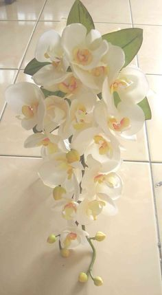 DIY Silk orchid cascade bouquet - Love this shape and size. Simple and not over the top.