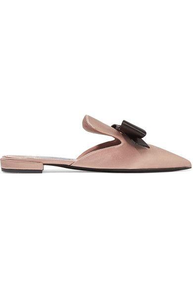 Prada - Bow-embellished Satin Slippers - Beige - IT41.5