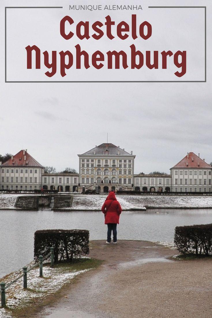 A beleza da neve no Castelo Nyphemburg e English Garten em Munique, Alemanha
