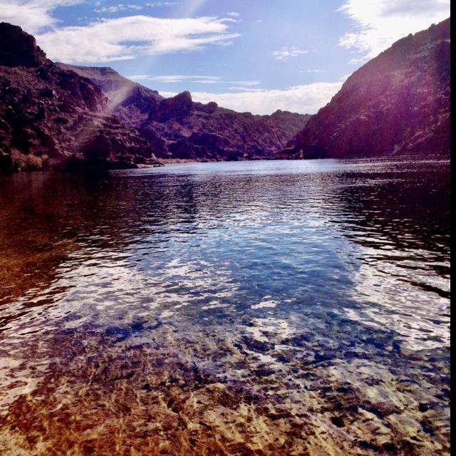 Colorado River in Black Canyon, straddling Nevada and Arizona state line.