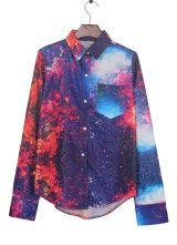 Red Wing Collar Galaxy Print Curved Hem Pocket Blouse $29.84