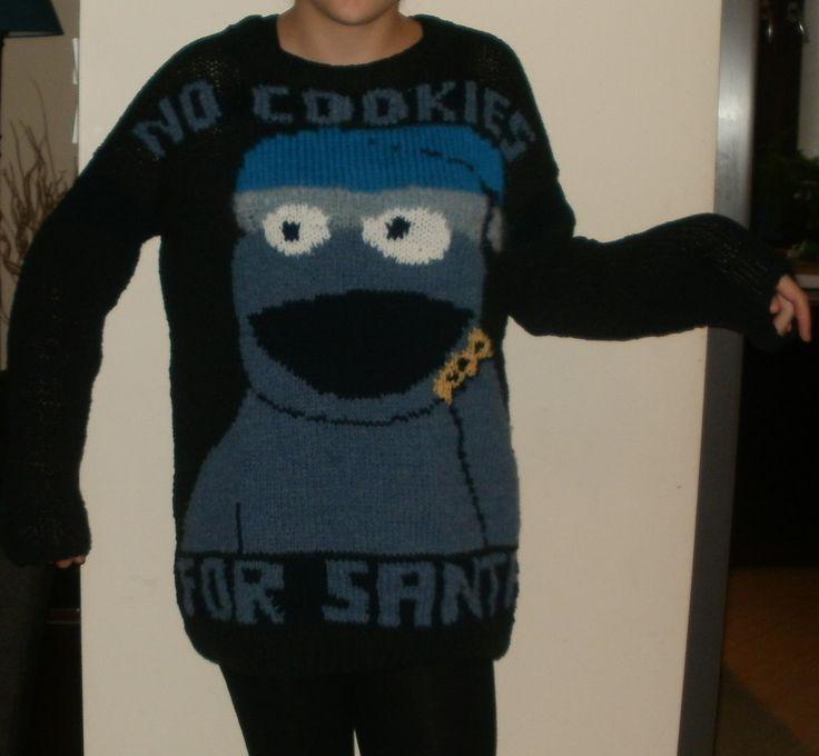 świąteczny sweter z cookie monster