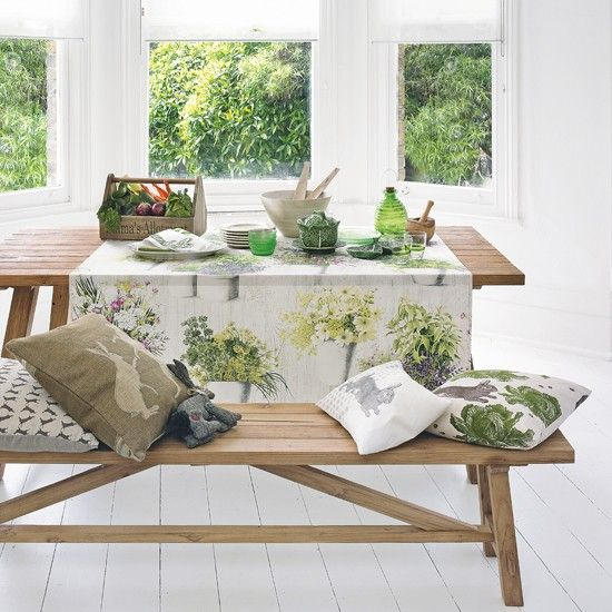 Rustic dining room with foliage tablecloth | Woodland design room ideas | design | PHOTO GALLERY | Housetohome.co.uk