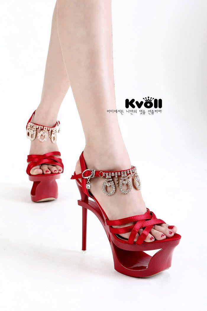 Kvoll свадебные туфли подлинный экзотический сильный ветер с атласными сандалии полые непромокаемую обувь ремешок бриллиантовые кольца - глобальной станции Taobao