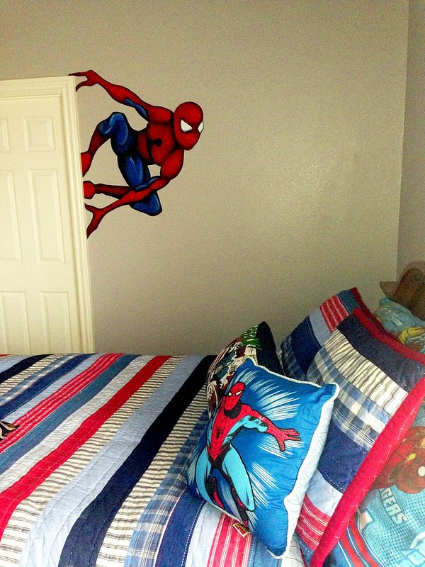 Spiderman Bedroom: mural by Kat Tatz, bedding from Pottery Barn Kids.