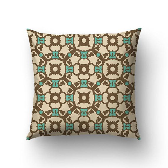 Brown Pillow Case Pattern Pillow Modernist Decor by Macrografiks