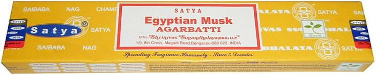 Nag Champa - Egyptian Musk Incense 15 Stick Box  A new scent from Satya Sai Baba, the makers of Nag Champa that perfectly captures the amazing scent of Egyptian Musk. Its fragrance is a complex mix of aromas that can be described as woody, earthy, sharp, and pleasant. #sunshinedaydream #hippieshop