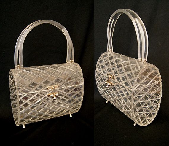 Gorgeous 1950s clear quilted lucite hand bag by wearitagain, $250.00