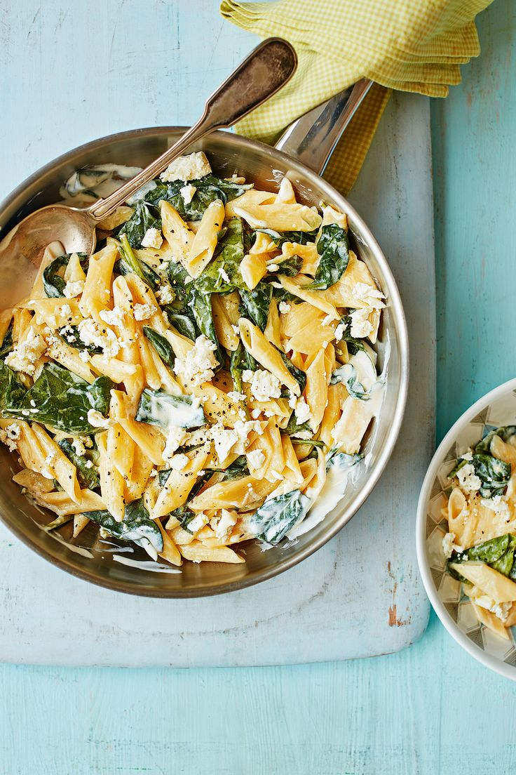 Lemon, spinach & feta pasta - Creamy, zesty and filling, this is the ideal veggie dish to celebrate spring. Recipe in our April 2017 issue.