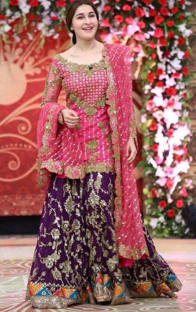 Beautiful Bridal Dress In Shoking Pink And Dark Purple Color Model