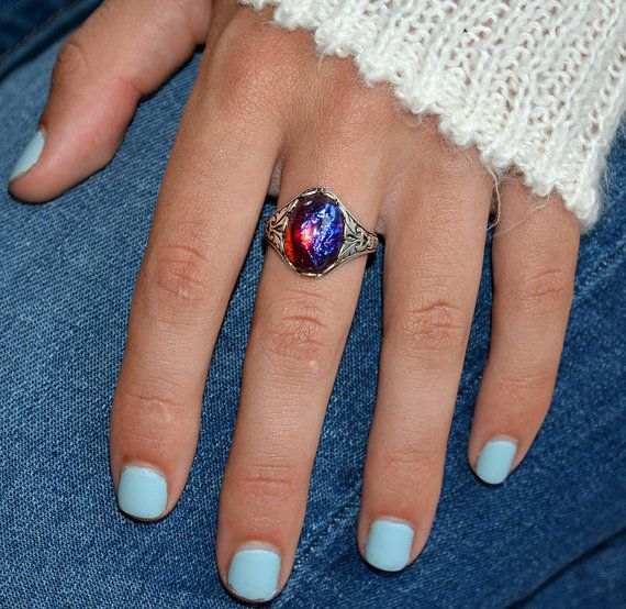 Dragons Breath Ring Fire Opal Ring Mexican Opal Ring Red