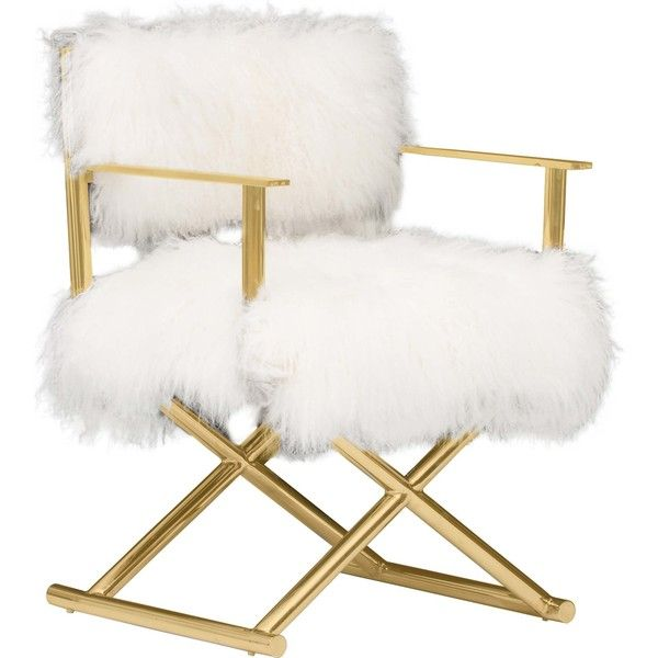 Gigi Mongolian Fur Chair, Gold ($799) ❤ liked on Polyvore featuring home, furniture, chairs, fur chair, gold chair and gold furniture
