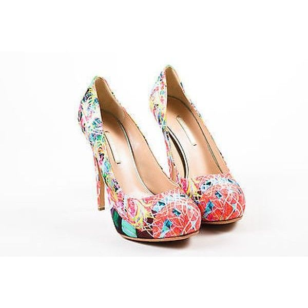Pre-Owned Nicholas Kirkwood Nwob Multicolor Neon Printed Satin... ($185) ❤ liked on Polyvore featuring shoes, pumps, multi, high heel shoes, multi-color pumps, neon pumps, platform shoes and multi color pumps
