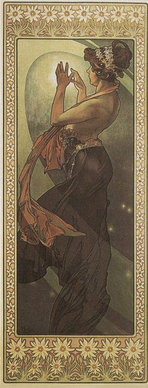 Alphonse Mucha ~ The Moon and the Stars 'The Pole Star' 1902