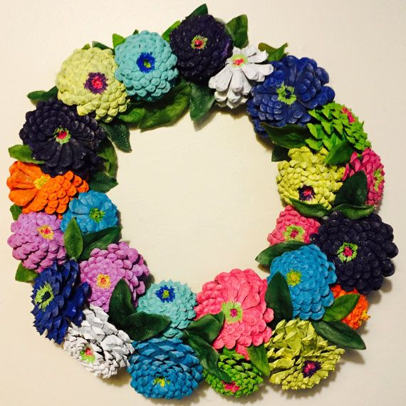 Painted Pinecone Zinnias Wreath Rustic by SouthernEscentuals