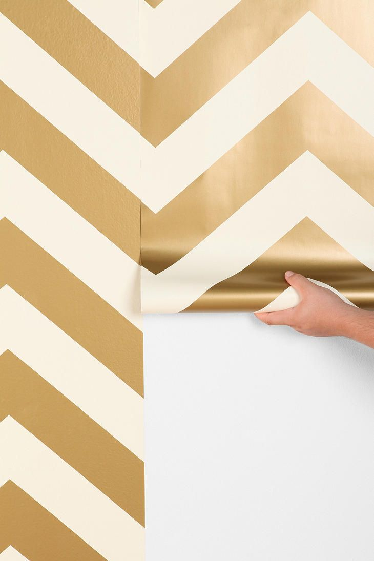 Gold chevron wallpaper temporary so you can remove and reapply if needed create a focal point or powder room wall
