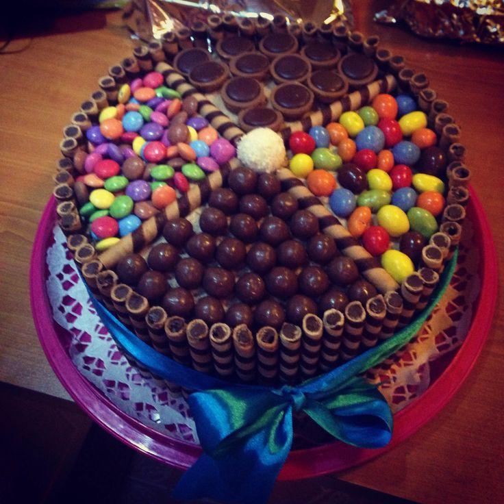 M&M's, Smarties, Raffaelo, Malters, Toffifee chocolate cake