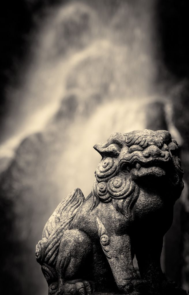Japanese guardian lion statue, Koma-inu 狛犬